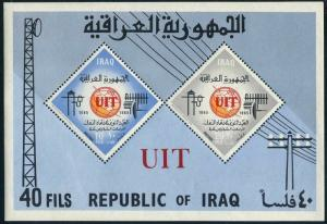 Iraq 378a perf,imperf,MNH.Mi Bl.7A-7B. ITU-100,1965.Telecommunication Equipment.