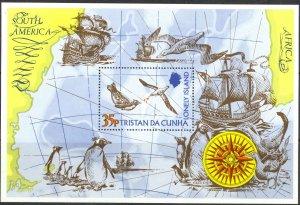 Tristan Da Cunha Sc# 195 MNH Souvenir Sheet 1974 Map, Penguin & Sea Gull