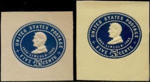 #U393-394 52 BLUE LINCOLN 1903 (2) XF+ UNUSED CUT SQUARES CV $44.00 BP8594