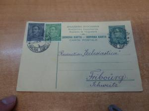 Yugoslavia P70 PSC uprated P25 + P50 to Switzerland with message (120bed)