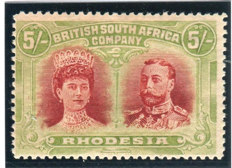 RHODESIA-1910-13 5/- Scarlet & Pale Yellow Green fine mounted mint  Sg 160