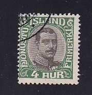 Iceland    #O41   used   1920  Christian X   4a   centre in grey-black