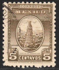 MEXICO 710, 5c REMEDIOS TOWER 1934 DEFINITIVE USED. F-VF. (528)