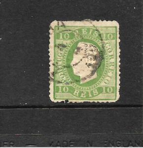 PORTUGAL 1875-84 10r YELLOW GREEN  KL  FU  P13 SG 106