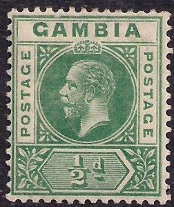 Gambia 1912 - 22 KGV 1/2d Deep Green SG 86 MM ( R1212 )