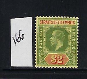 STRAITS SETTLEMENTS SCOTT #166 1912 GEORGE V DIE I WMK 3-$2 (GREE/RED)) MINT LH