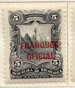 Nicaragua 1893 Early Issue Fine Mint Hinged 5c. Official Optd 323718