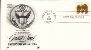 1989, 25c Great Seal of US, FDC, Artcraft/PCS (E9205)