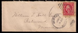 US Scott #406 Newton Mass To Richmond ME Postal Cover Very Good Condition 1912