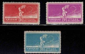 Uruguay Scott 282-284 MH* Victory of Samothrace 1924 Olympics set CV $60