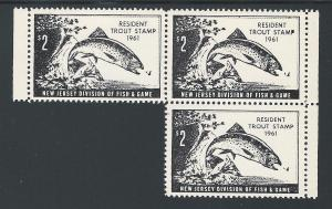 $2 Resident New Jersey Trout Stamp 1961 #17, Partial Blk ...
