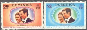 Dominica MNH 372-3 Princess Anne's Wedding 1973