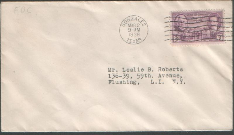 Texas #776 plain FDC