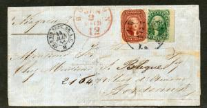 US Sc #28 & 33 New Orleans to France May 25, 1858 15c Rate CV $5550 Rare