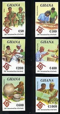 GHANA SCOTT# 1732-7 YEAR OF FAMILY 1994 IMPERF SET MNH