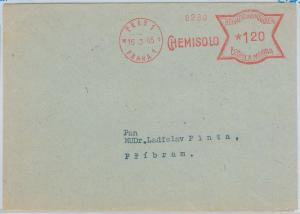 64792 - Bohemian and Moravia - Red MECHANICAL POSTMARK: CHEMISTRY Chemisolo 1945