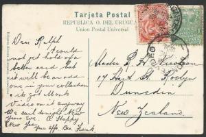 URUGUAY 1904 postcard used to New Zealand..................................11181