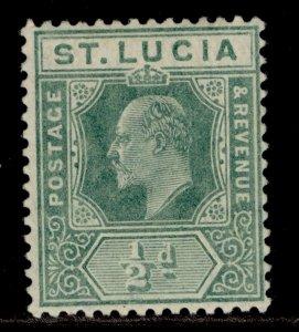 ST. LUCIA EDVII SG65, ½d green, M MINT.