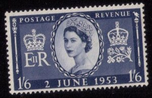 Great Britain Sc #316 MLH 1SHILLING 6P DARK BLUE F-VF
