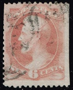 US STAMP #159 1873 6¢ Lincoln Continental Bank Note USED STAMP