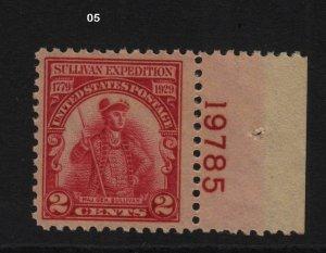 1929 Sullivan Sc 657 MNH plate number single  Hebert CV $13