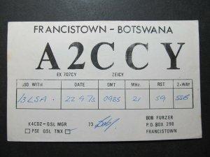 5368 Amateur Radio QSL Card Francistown Botswana