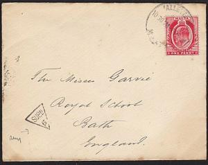 MALTA TO UK 1909 cover ex Valetta with SUBN/5  UK inspector's mark.........9483