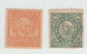 Guatemala revenue fiscal Cinderella stamp 9-12b- orange=mnh gum green=used