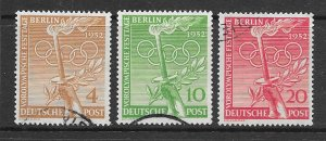 Berlin 9N81-3 used Olympic set, see desc. 2019 CV $42.90
