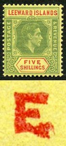 Leeward Islands KGVI 5/- Distorted E of Value tablet M/M
