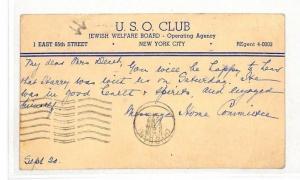 USA JUDAICA Stationery Postcard WW2 JEWISH WELFARE BOARD *USO Club* 1943 NY AX58