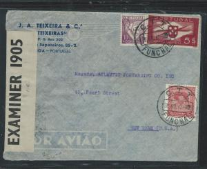 BERMUDA (P1106B) 1942 INCOMING TRANSIT CENSOR COVER FROM FUNCHAL TO USA