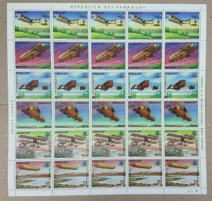 EC136 1983 PARAGUAY TRANSPORT AVIATION SPACE MICHEL 26 EU BIG SH FOLDED IN 2 MNH