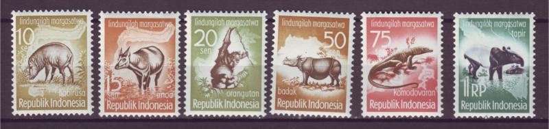 J21032 Jlstamps 1959 indonesia set mh #473-8 animals