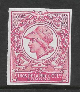 1910 DLR Minerva Head Colour Trial - Deep Bright Carmine on chalky paper MNH