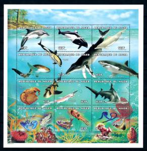 [95591] Niger 1998 Marine Life Whales Sharks Coral Sheet MNH
