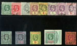 Northern Nigeria 1912 KGV set complete very fine used. SG 40-52. Sc 40-52.