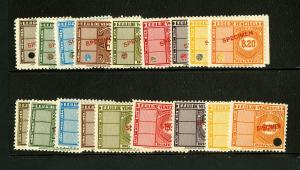 Venezuela Stamps VF OG NH 18 Revenue Specimen with Various Overprints