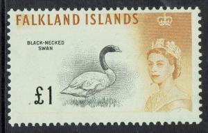 FALKLAND ISLANDS 1960 QEII BIRD 1 POUND MNH **