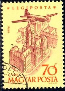 Plane Over City Gyor, Hungary stamp SC#C193 used