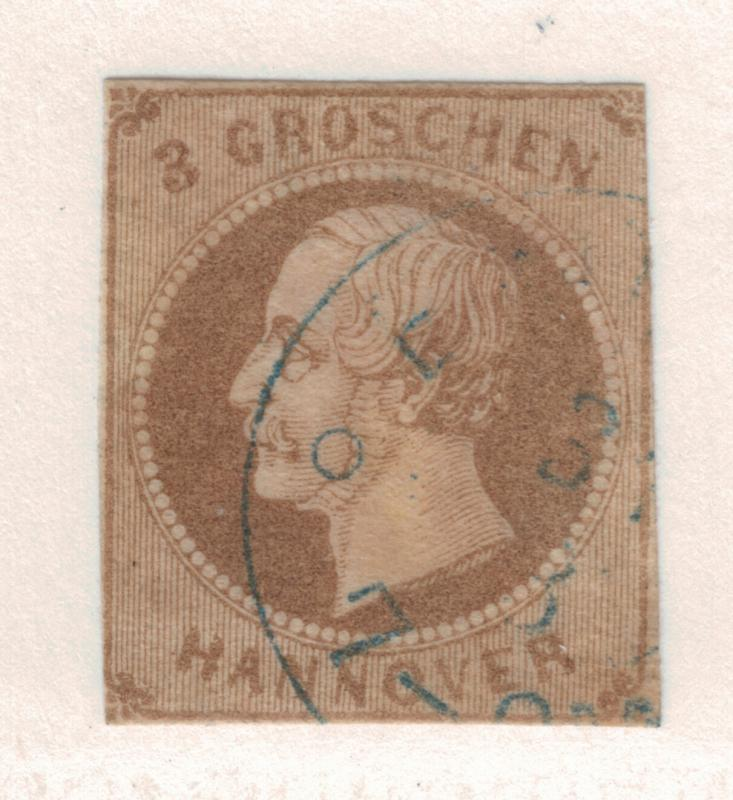 Hannover (German State) Stamp Scott #23, Used, Cut Close