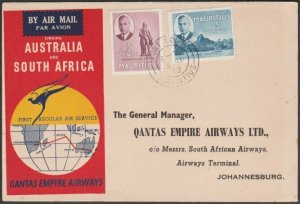 MAURITIUS 1952 Qantas first flight to South Africa..........................T365