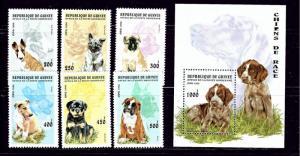 Guinea 1340-46 MNH 1996 Dogs set with souvenir sheet