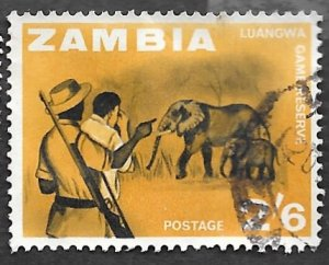 Zambia Scott #14 2sh 6p ‭Elephants in Luangwa Valley Game Reserve (1964) Used