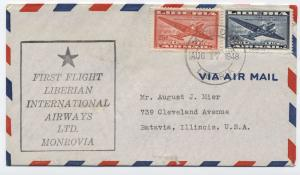 1948 Liberia first flight Liberian International Airwayscover to USA [y3018]