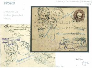 W589 1901 INDIA *Barielly* Postal Stationery Underpaid Cover Forwarded GERMANY