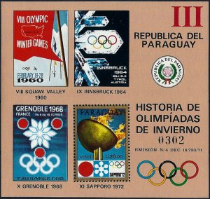 1972 Paraguay History of the Olympic Games, Sapporo, Sheet VF/MNH! CAT 23$