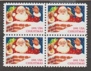 U.S. Scott #2579 Christmas 1991 Santa Chimney Stamp - Mint NH Block of 4
