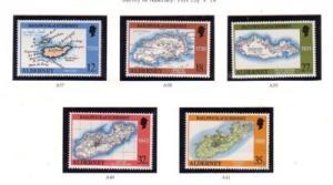 Alderney Sc 37-41 1989 Map stamp set mint NH