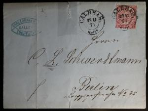 Germany NDP 1871 Postal History Rare Cover + Content Mi.16 EF to Calbeas DB.408